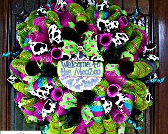 Colorful Custom Cow Print Wreath with Custom Sign