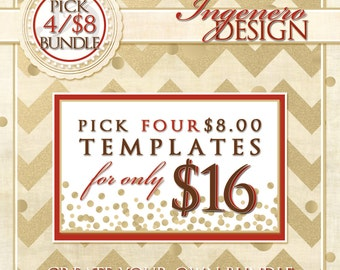 Create Your Own Bundle Of Four - Pick four 8 Dollar Templates