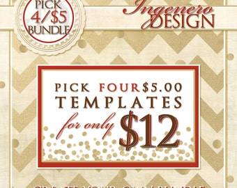 Create Your Own Bundle Of Four - Pick four 5 Dollar Templates