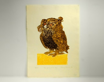 owl art, intaglio and relief printing, 1970s, Nancy Nemec, listed artist, sepia, gold, black, Print Club of Rochester, NY, signed, numbered