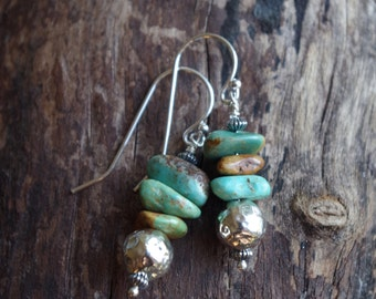 Sterling Silver and turquoise earrings **ON SALE**  Handcrafted silver dangles - Semi precious stones - Boho earrings - Southwest earrings