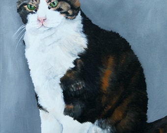 Custom cat portrait, painting of your cat from your photo, hand painted on a 10x14 canvas