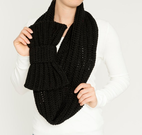 Black Bow Infinity Scarf, Chunky Crochet Neck Warmer, Knit Women's Warm, Handmade Crocheted Winter Statement Accessory