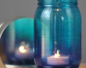 Mason Jar Candle Holder with Ombre Fade from Deep Blue to Teal, Hand Painted Colorful Mason Jar