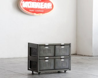 2 x 2 Reclaimed Locker Basket Unit in Monochrome Natural Steel