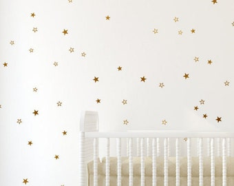 Gold star decals - Gold cut out stars, cute little stars, delicate star pattern, Gold pattern Gold wall decals by Jesabi