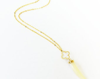 Cream Tusk Horn and Modern Clover Necklace on Gold Filled Chain