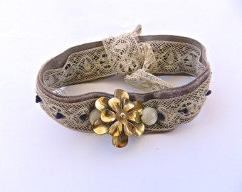 Vintage Hand Stitched Bracelet.Jewelry.Fashion.Upcycled