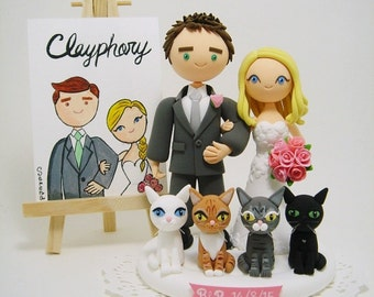 Cute couple with 4 cats custom wedding cake topper