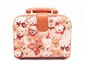 Teddy Bear Pattern, Teddy Bear, Brown Bear Bag, Kawaii Bag, Teddy Bear Makeup Bag, Teddy Bear Handbag, Brown Leather Bag,