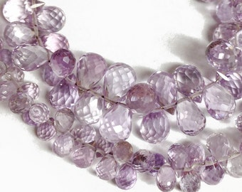 Light amethyst micro-faceted teardrops.  Select a size: 3x4mm - 5x8.5mm