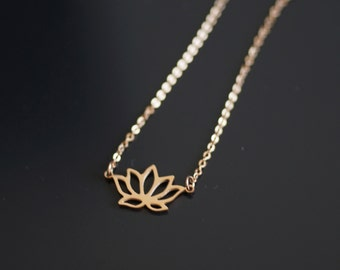 Lotus Necklace, Rose Gold, Christmas Gifts, Lotus Flower Necklace, Bridesmaid Gift, Gift For Mom, Gift For Women, Christmas, Titanium, Yoga