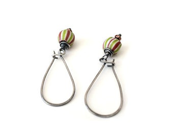 African Watermelon Trade Bead earrings, wire wrapped with sterling silver kidney earwires