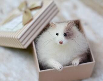 Gift idea for her light beige knitted hamster birthday gift idea animal lover gift unique gift pet animal stuffed animal