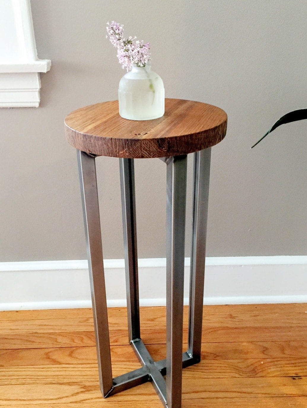 Reclaimed wood round side table accent end by
