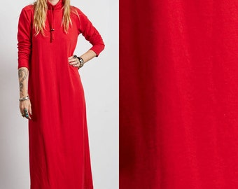 Vintage 80s red BOHO hippie CAFTAN maxi DRESS