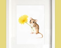 Cute Woodland Print - Nursery Art - Mouse Watercolor Print - Nursery Watercolor Print - Whimsical Animal - Woodland Nursery Decor Yellow