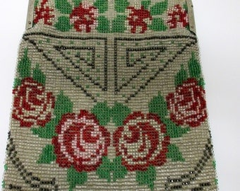 Vintage Beaded Purse, 20s Art Deco Style, Vintage Beaded Purse, Victorian Beaded Purse