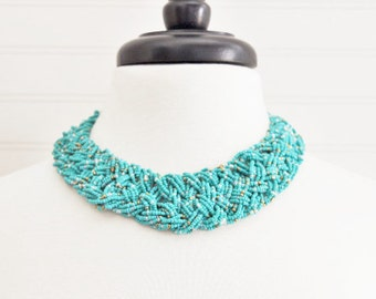 Cyan Beaded Chunky Necklace