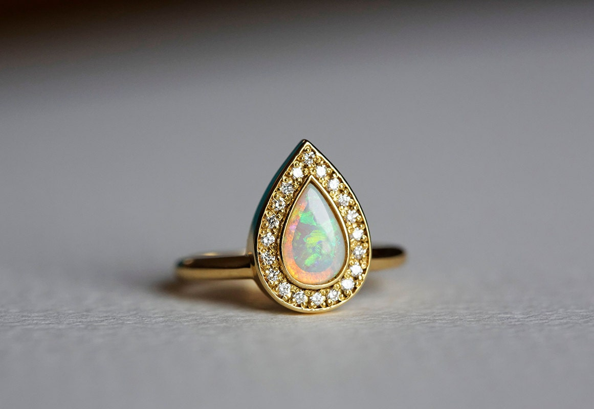 Opal Engagement Ring Gold Engagement Ring Pear Engagement