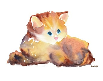 Kitten Painting, Nursery Art Print, Kids Wall Art, Cat Watercolor, Whimsical Baby Room Wall Decor, Grumpy Cat, Abstract Children Art Kitty