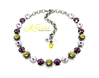 TAHITI 12mm Crystal Rivoli & Chaton Necklace Made With Swarovski Elements *Antique Silver *Karnas Design Studio *Free Shipping*