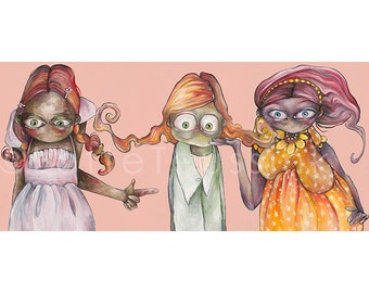 Pink greeting card with 3 big eyed sisters, pop surrealism, lowbrow painting by Lotte Teussink, fantasy art, big eye art, weird art, NL