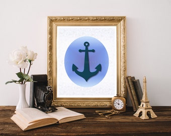 "Blue Anchor Printable 8""x10"", Blue Anchor Decor, Anchor Decor, Anchor Digital Download, Anchor Download Print, Nautical Decor 0111"