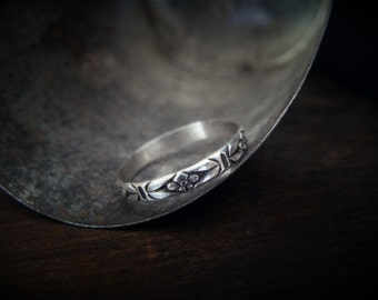 Sterling Silver Floral Ring Flower Stacking Ring Forget Me Not Ring