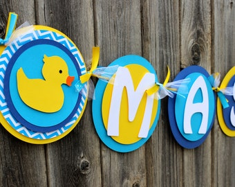 Rubber Ducky Baby Shower Banner - IT'S A BOY or Rubber Ducky NAME Banner in Yellow and Blue and Turquoise Chevron for Baby Shower