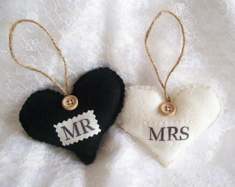 Mr and Mrs Wedding Signs, Wedding Gift, Hanging Hearts, Mr and Mrs Home Decor