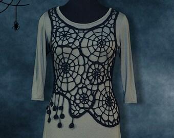 Top Spider Web, crochet top cotton, handmade top, Top Halloween, exclusive design by Krinichka