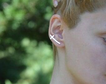 Cross ear crawler,Cross earring pins,Women cross ear jacket,Etsy trending ear pins.