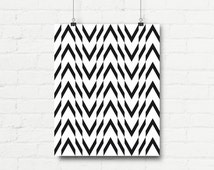 """Motivational Print Wall Poster """"Black and White Staggered Chevron"""" Wall Decor Graphic Art Printable Home Art Gift Present Download4"""