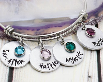 Custom Hand Stamped Mother's Bracelet - Grandmother Bracelet - Birthstone Bracelet - Name Bracelet for Mom - Mother's Day Gift for Her