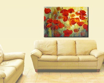 Large Art, Contemporary Art Print, Red Poppies Wall Art Canvas, Flower Wall Decor, Living Room Art, Large Wall Decor, Large Canvas Art