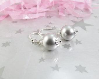Light Gray Swarovski Pearl Earrings - Grey Pearl Earrings - Pearl Dangle Earrings - Wedding Jewelry