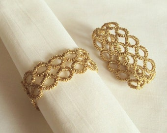 Gold Napkin Rings in Tatting - Party Table Decor - Contemporary Geometric Design - Marie - Set of Two