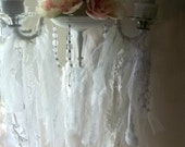 Antique Chandelier. SHabby Chic Cottage Romance. French Brocante Boho Chic. Tattered ribbons. Prisms. Wedding candelabra