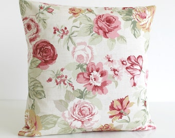 Shabby Chic Decorative Pillow Cover, Floral Cushion Cover, Pillow Sham, Pillowcase, Toss Pillow - Country Flowers Sage
