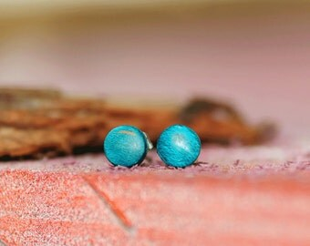 6mm Skateboard earring, Circle stud, Surgical steel posts, Upcycled wood, Gift for her, Fake gauges
