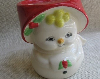 Christmas Candle Holder / Ceramic Holiday Girl / Candle Stand / Plant Stand / Vintage Christmas Decor / Hand Painted Ceramic / Small Stand