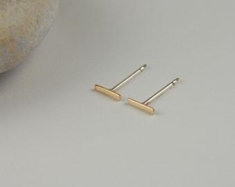 Tiny Gold Studs Gold Bar Earrings Tiny Bar Earrings 14K Gold Line Earrings Staple Earrings Minimalist Earrings