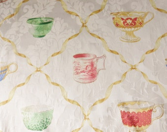 Teacup Pattern Upholstery Fabric Sample, Pennesylvania House Fabric, Designer Fabric Sample