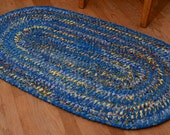 Hand Braided Rag Rug - Blue and Yellow Patchwork Bohemian Braid Oval
