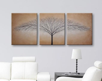 SALE Canvas Art Tree of Life Wall Decor Wall Art Canvas Original Paintings Brown Wall Art Home Decor 48x20 Original Painting