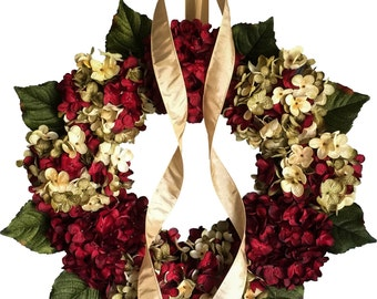 Blended Hydrangea Wreath | Cranberry Red Hydrangea | Front Door Wreaths | Summer Wreath | Hydrangea Wreath | Spring Wreaths | Porch Decor