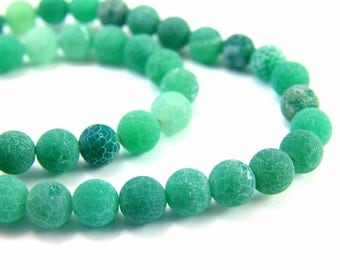 8mm Frosted Agate Beads, Full Strand (47pcs) Matte Agate Beads, Green Agate Beads, Round Agate Gemstone, Frosted Agate Stones