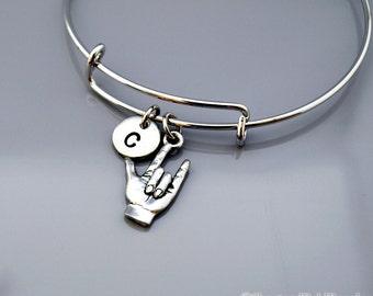 I love you sign language, ASL I love you, I Love You hand sign, Expandable bangle, Personalized bracelet, Charm bangle, Initial bracelet