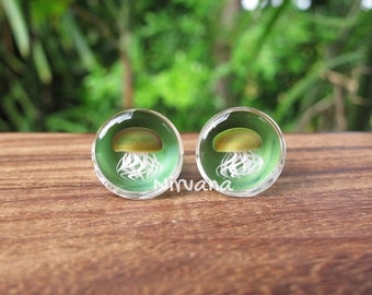"Pyrex Glass Jellyfish Plugs Jade Green Background 0g 00g 7/16"" 1/2"" 9/16"" 5/8"" 3/4"" 1""  8 mm 10 mm 12 mm 14 mm 16 mm 18 mm 20 mm 22 mm 25 mm"